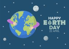 Happy earth day. Greeting card vector illustration Royalty Free Stock Photo