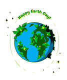 Happy Earth Day greeting card. Vector illustration for Earth Day April 22. Happy Earth Day greeting card. Earth Day design. Planet Earth with leaves and flowers Royalty Free Stock Image