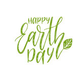 Happy Earth Day hand lettering background. Vector illustration with leaf for greeting card, poster, etc. Royalty Free Stock Photography
