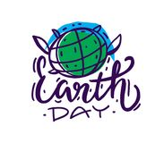 Happy Earth Day hand lettering. vector illustration