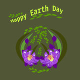 Happy Earth Day hand lettering card, background. Vector illustration with leaves for banner, poster. Holiday Stock Image