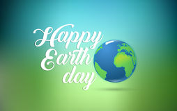 Happy Earth Day hand lettering card with planet earth, on green blue background. Vector illustration with smooth lines. For banner, poster Stock Photo