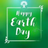 Happy Earth Day hand lettering leaf frame card stock illustration