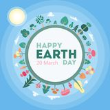 Happy Earth day. Happy Earth day greeting card with planet and space Stock Photos