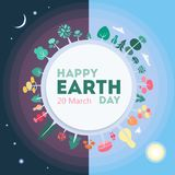 Happy Earth day. Happy Earth day greeting card with planet and space Royalty Free Stock Photography