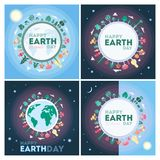 Happy Earth day. Happy Earth day greeting cards with planet and space Stock Photo