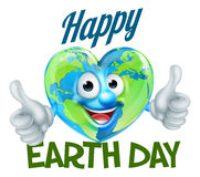 Happy Earth Day Heart Globe Mascot Design Stock Image