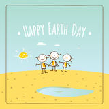Happy Earth day. Illustration vector concept, with kids holding hands, standing on a meadow. April 22 world environment background, poster Stock Image