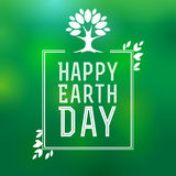 Happy Earth Day. Lettering card, poster for Earth Day vector illustration with tree and leaves. Earth day background Royalty Free Stock Photos