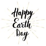 Happy Earth Day lettering greeting stock illustration