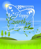 Happy Earth Day. Logo design in a spring landscape. Happy Earth Day. 22 th April. Greeting inscription in a beautiful spring landscape. Vector illustration Royalty Free Stock Image