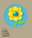 Happy earth day paper flower illustration quote Royalty Free Stock Photos