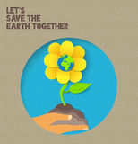Happy Earth Day paper nature illustration quote Stock Photos