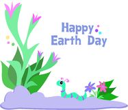 Happy Earth Day with Plants and Cute Worm Stock Photos
