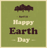 Happy Earth Day poster with tree Royalty Free Stock Image