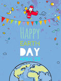 Happy Earth day poster. Happy Earth day typography poster, globe illustration vector concept, with kids. April 22 world environment background, poster Stock Images