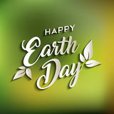 Happy Earth day quote for world environment care. Happy earth day quote design for world environment care with green blur nature background. EPS10 vector Royalty Free Stock Photo