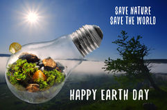 Happy Earth Day Save Nature and World illustration. Happy Earth Day, Save Nature World light bulb concept Stock Photo