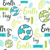 Happy Earth Day Seamless Pattern With Hand Drawing Lettering Creative 22 April Eco Event Background. Vector Illustration Stock Image