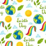 Happy Earth Day seamless pattern. Illustration for environment safety celebration stock illustration