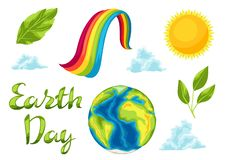 Happy Earth Day set of items. Illustration for environment safety celebration royalty free illustration