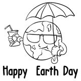 Happy Earth Day style with umbrella Stock Image