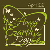 Happy Earth Day. 22 th April. Typographic design poster Stock Image