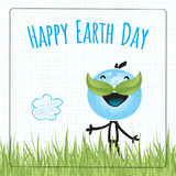 Happy Earth day. Typography, globe illustration vector concept. April 22 world environment background, poster. Planet earth character, standing in a grass field Royalty Free Stock Photos