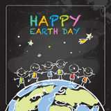 Happy Earth day. Typography, globe illustration vector concept, with kids. Chalk on blackboard drawing, April 22 world environment background, poster. Smiling Royalty Free Stock Photos