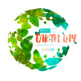Happy Earth Day. Vector earth globe with green leaves. Royalty Free Stock Images