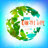 Happy Earth Day. Vector earth globe with green leaves. Happy Earth Day. Greeting card on 22 april. Vector earth globe with green leaves for your design Royalty Free Stock Photography