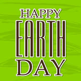 Happy Earth Day. Vector illustration of a stylish text for Happy Earth Day in green background Stock Photography