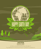 Happy Earth Day vintage poster. Country landscape Stock Photography