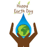 Happy earth day. Earth in water drop on hand design Stock Photos