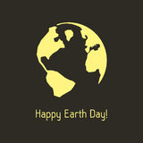Happy earth day with yellow outline planet Stock Image