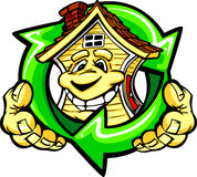 Happy Earth Friendly House Holding Recycle Arrows Stock Photo