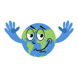 Happy Earth isolated. Good Planet on white background. Earth Day Royalty Free Stock Photography