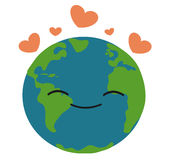 Happy earth in love illustration Stock Image