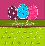 Happy Easter 1. Illustration of easter postcard with easter eggs Royalty Free Stock Photography