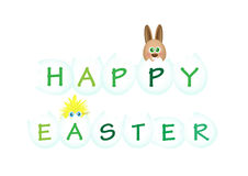 Happy Easter. With rabbit and chick on white background Royalty Free Stock Photos