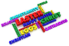 Happy Easter. A colorful 3D rendered image with Easter text in English Royalty Free Stock Photos