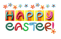 Happy Easter!. Happy Easter phrase made from plasticine isolated over white background royalty free stock image