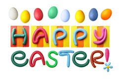 Happy Easter!. Happy Easter phrase made from plasticine isolated over white background