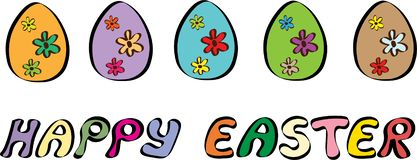 Happy Easter Banner With Five Eggs Illustration royalty free illustration