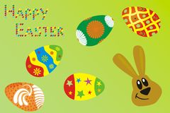 Happy easter. Few Easter eggs and description happy easter Royalty Free Stock Images