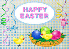 Happy easter. Easter illustration with festive decorations, painted eggs in the basket, chickens and congratulations in pastel colors Royalty Free Stock Photos