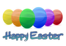 Happy easter. Colorful eggs isolated over a white background Royalty Free Stock Photography