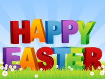Happy Easter. An illustration of some 3d text saying Happy Easter. Clipping masks used and blue background placed on separate layer stock illustration