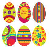 Happy Easter. Six eggs decorated for Easter Stock Photo