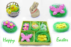 Happy Easter. Easter decorations on a white background Royalty Free Stock Photography